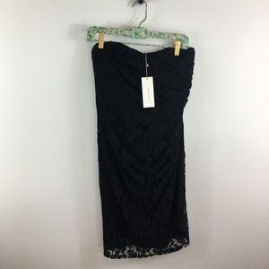 NWT Rebecca Taylor Black Strapless Lace Dress